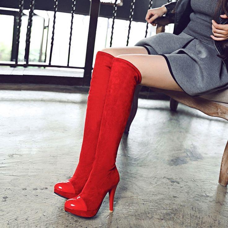 36.04$  Watch here  - Women Knight Boots Lady Knee High Boots 2017 Fashion Sexy High Heels Botas Mujer Femininas Super Bigges Sizer Eu34-43 B2669
