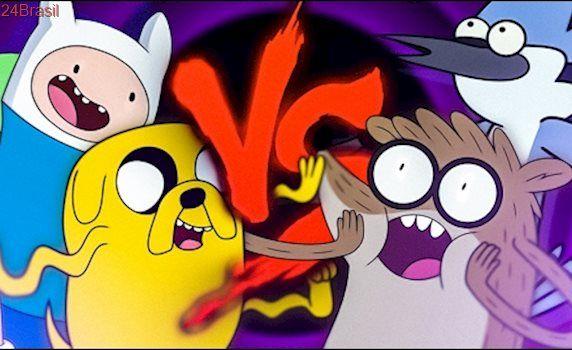 Finn e Jake VS. Mordecai e Rigby | Duelo de Titãs