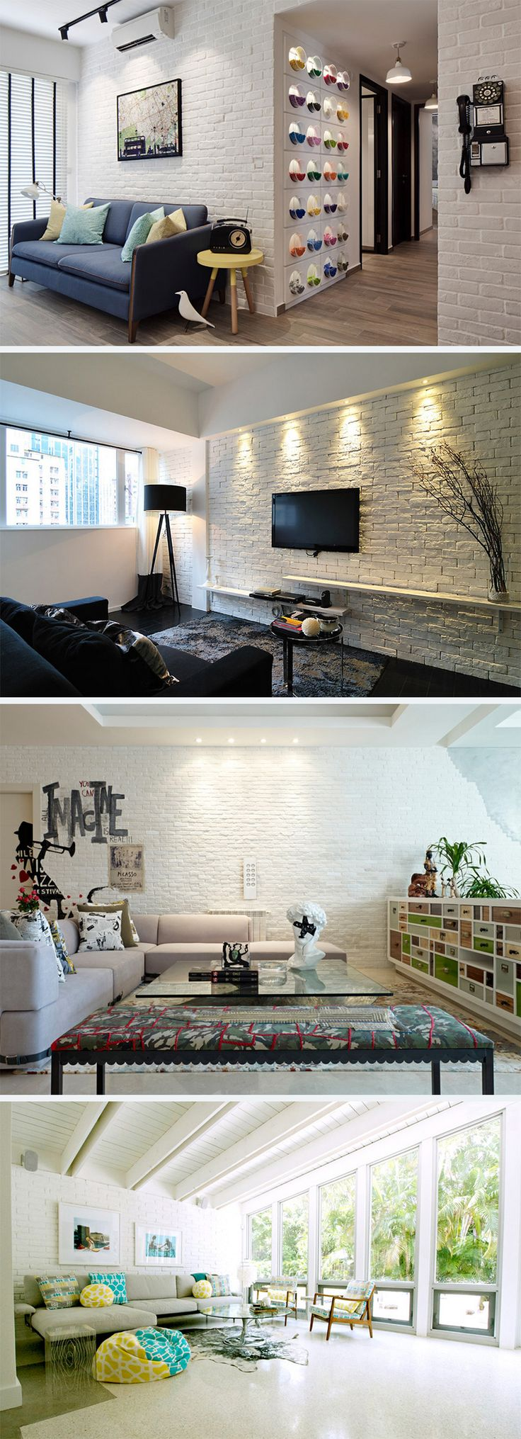 25 living rooms with white brick walls