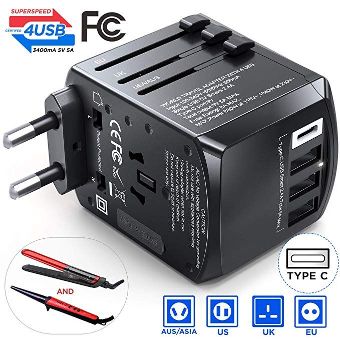 Universal Travel Adapter Wall Charger 4 USB International Plug US UK AU EU
