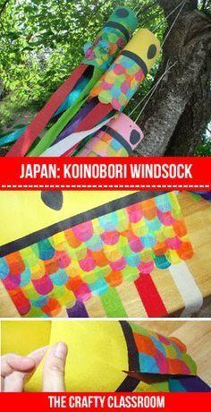 Windsock KoiNoBuri http://thecraftyclassroom.com/crafts/japan-crafts-for-kids/japanese-carp-kite-craft/