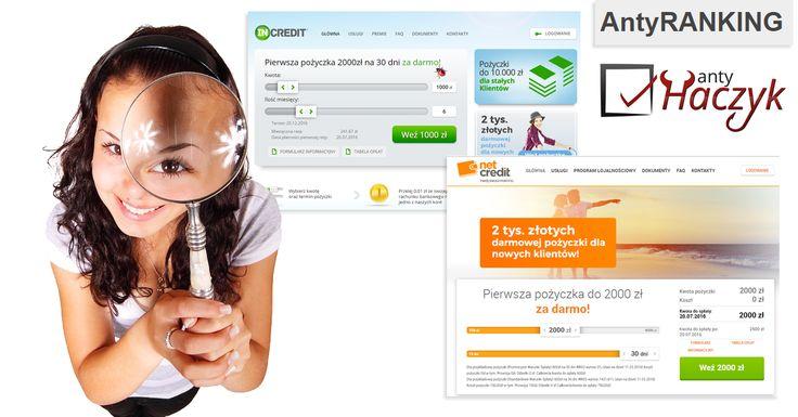 Analiza pierwszej darmowej pożyczki w NetCredit i InCredit  https://antyranking.blogspot.com/2016/06/netcredit-incredit-opinie.html Czy wiesz, że niektóre firmy oferujące pierwszą darmową pożyczkę działają pod kilkoma markami i w takim wypadku nie przysługuje Ci pierwsza pożyczka gratis jak już skorzystasz wcześniej z innej platformy należącej do tej samej firmy? Zanim skorzystasz z darmowej pożyczki w NetCredit lub InCredit przeczytaj naszą analizę.