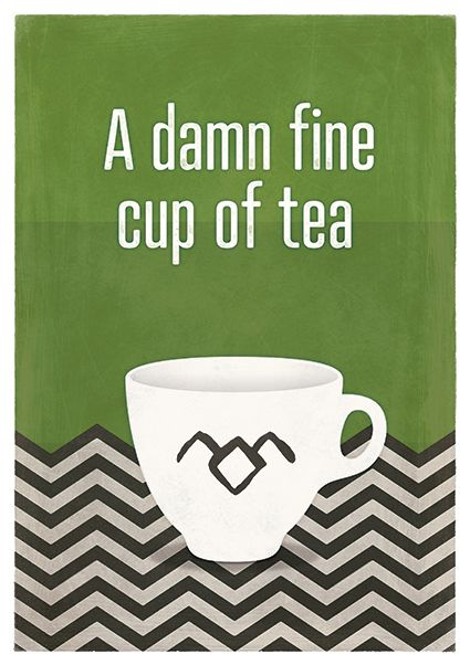 """Damn fine cup of tea; Twin Peaks Inspired quote poster, Red Room, Minimalist Poster - This is a poster inspired by one of the most famous quotes by agent Cooper in David Lynch TV show """"Twin Peaks"""". The illustration reminds the Red Room (in green this time) while the cup is decorated with the owl symbol."""