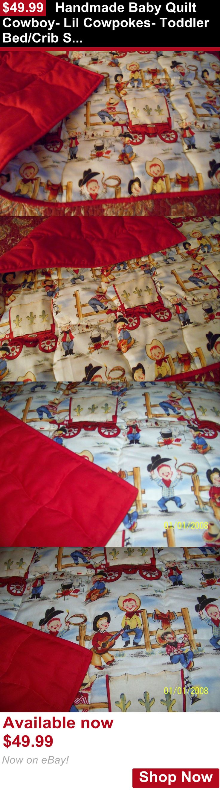 Quilts And Coverlets: Handmade Baby Quilt Cowboy- Lil Cowpokes- Toddler Bed/Crib Size Quilt Comforter BUY IT NOW ONLY: $49.99