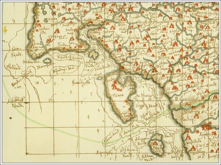 Fanø bugt Denmark 1659 - Johannes Mejers kort 3 i hans håndtegnede Kort over det danske Rige