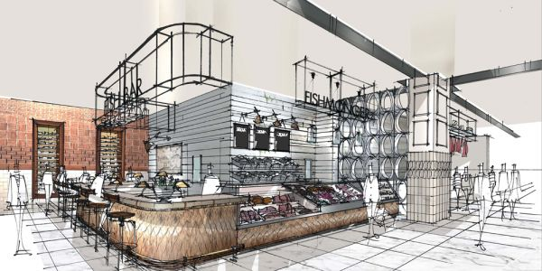 Fenwick Food Hall, Newcastle Sketch by Stephen Richardson  'A recipe for success: Fenwick Newcastle's new food hall | Fenwick'