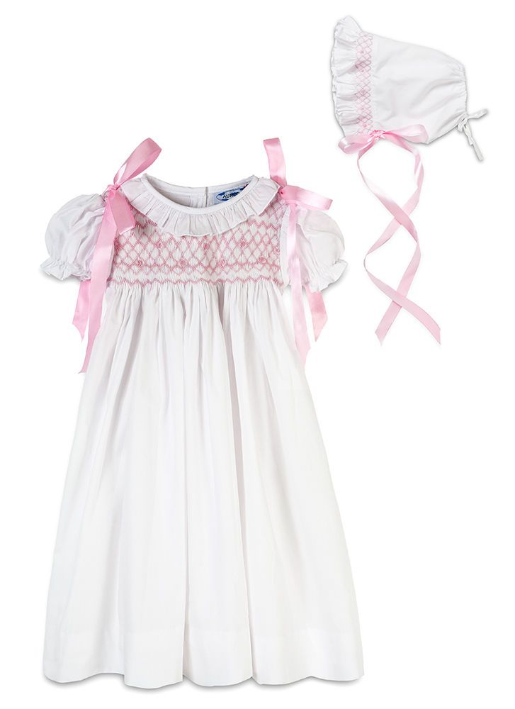 Aurora royal baby girls cotton shortsleeved hand smocked