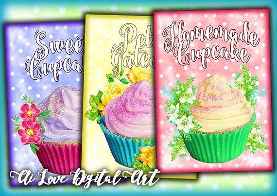 Cupcake card digital collage sheet instant download