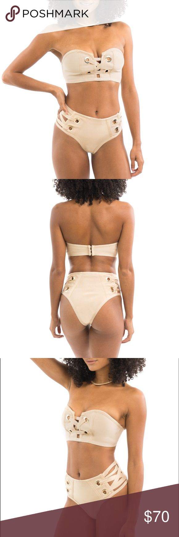 Nude Two-Piece Bandage Baithing suit - Swimwear As seen. No trades. Brand new condition. Nude Bandage Two-Piece Baithing Suit  * Beige with gold detailing * Bandage fabric * Bathing suit/ Swimsuit style * Side cut-out * Front crossing detail * Sweetheart cut * 90% Polyester, 10% Spandex Style Link Miami Swim Bikinis