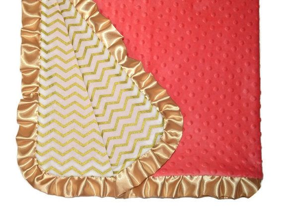 Front side is cotton gold metallic chevron print, back is dotted minky in gorgeous coral color. Gold ruffle border is added for that extra
