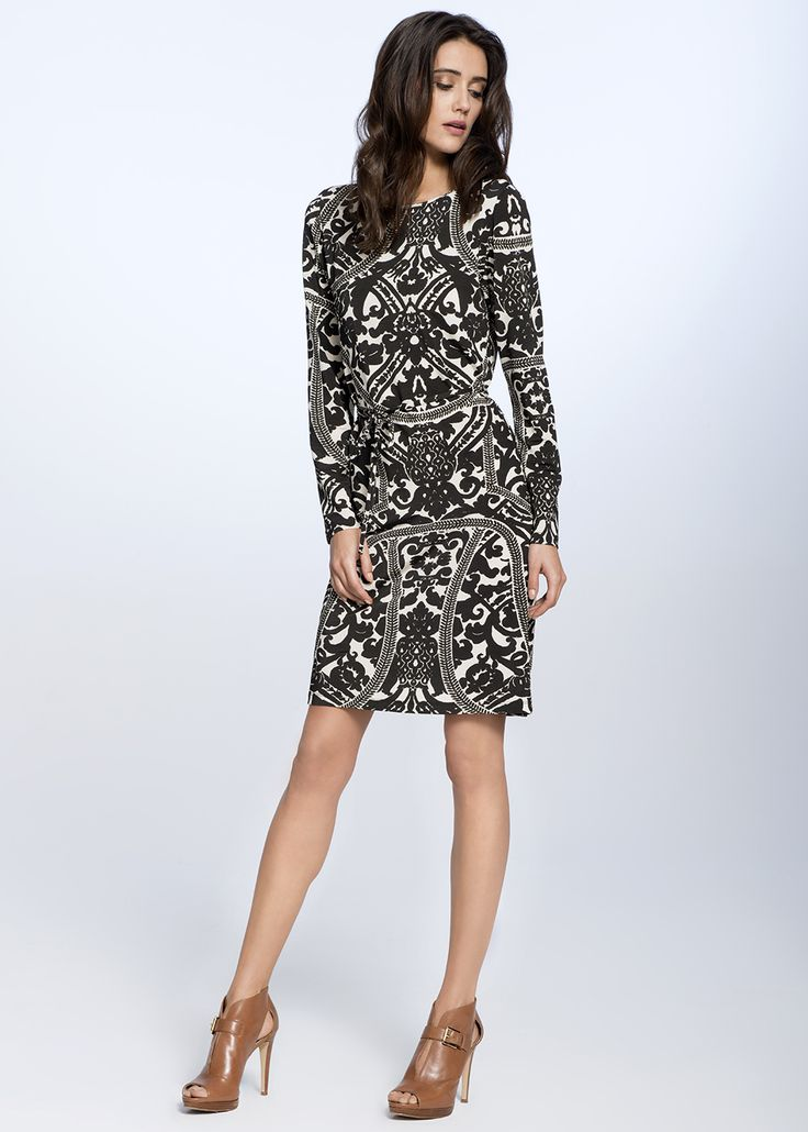 PATTERNED STRAIGHT DRESS €129.00 Beautiful, straight dress made from silky viscose underlines the slenderness of female silhouette