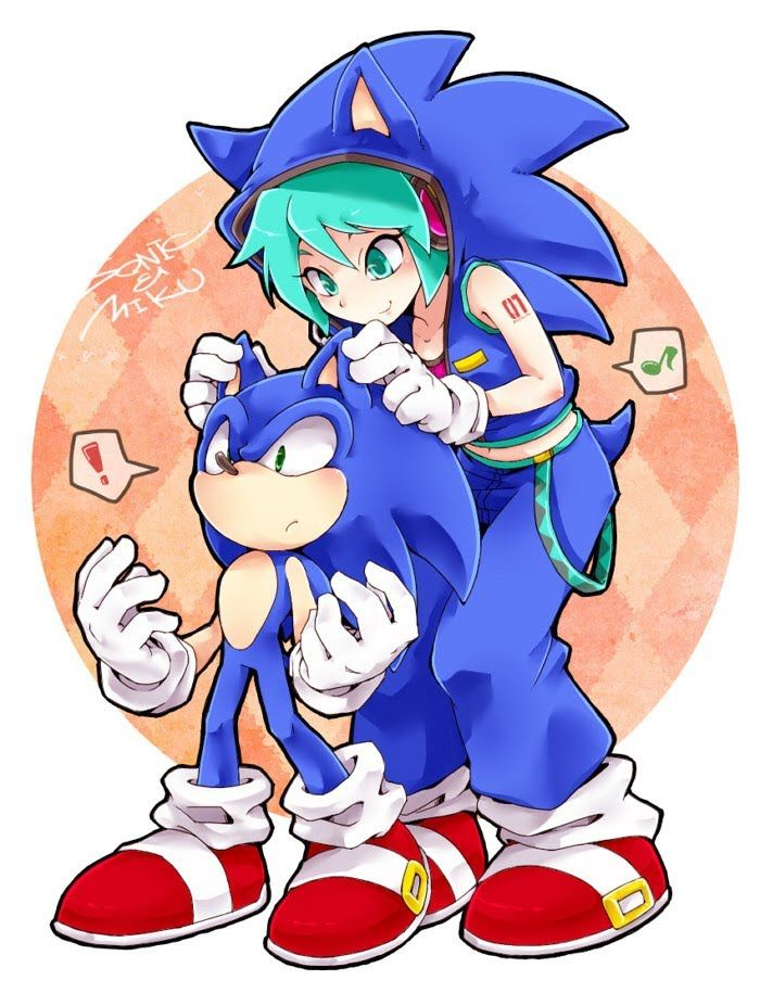 I really like the way this artist drew Miku. Makes me wanna see more of his or her art.   Hatsune Miku and Sonic