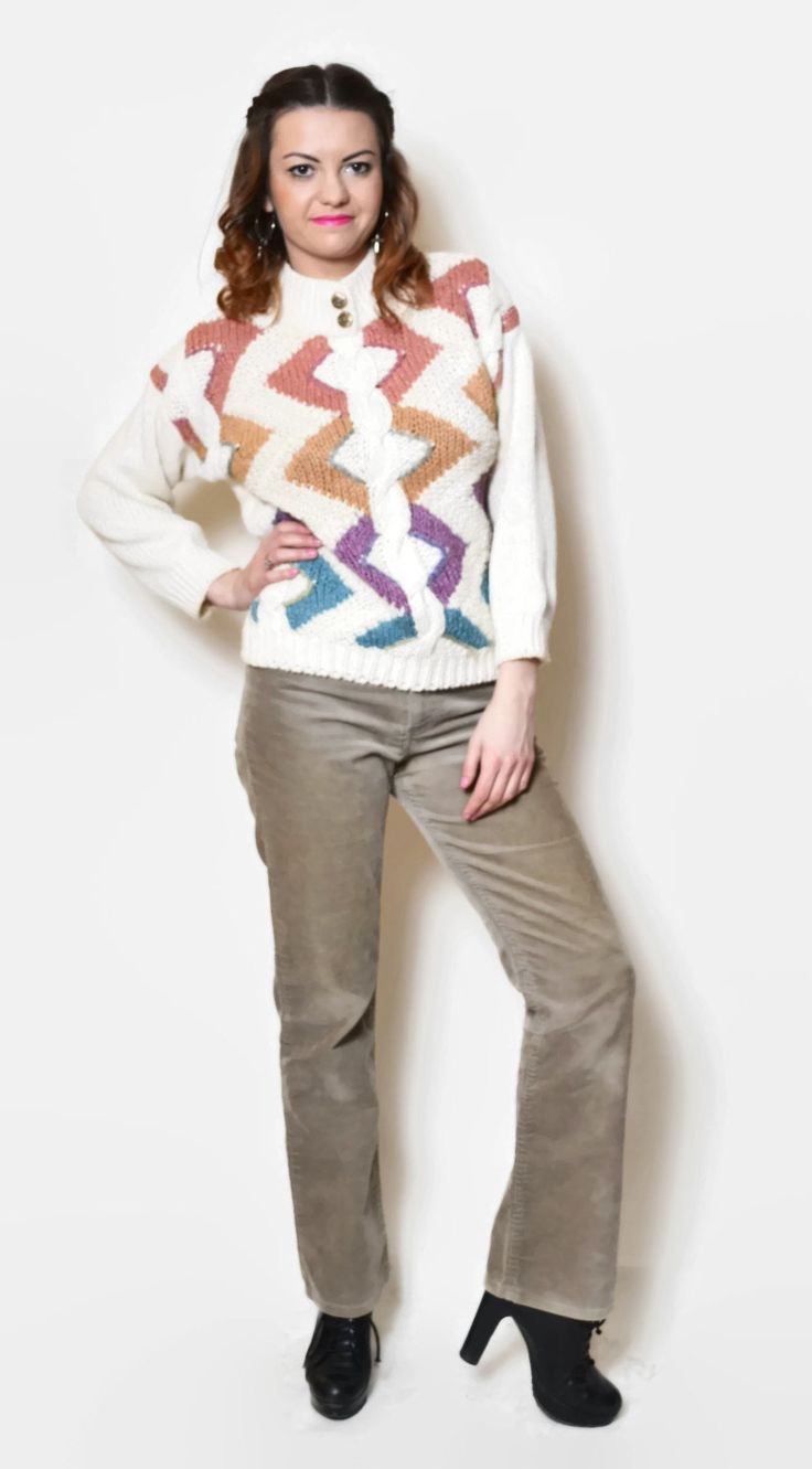 Vintage colorful hipster sweater.  The model on the pictures is size S/36 and 165 cm height. Please check measurements with your own to avoid problems with the size. Make sure you double the measurements where shown (*2):  Label size: M/ 38 Total lenght: 61.5 cm / 24.25 inches Sleeve lenght: 41 cm / 16.25 inches Shoulder to bottom: 54.5 cm / 21.5 inches Armpit to bottom: 35 cm / 13.75 inches Armpit to armpit: 54.5 cm *2 / 21.5 inches *2 Waist: 46.5 cm *2 &#x...
