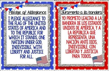 Pledge of Allegiance in English and Spanish (Pledge to Tex