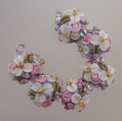 bliss garden delight wild blossom abundance lampwork bead set jewelry on artfire