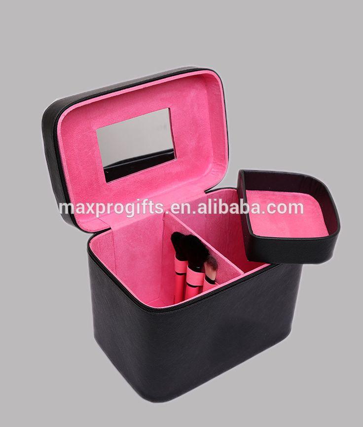 En gros Personnalisé USA Populaire portable rose/noir/or/léopard en cuir pu maquillage sac, cosmétique train cas avec ceinture