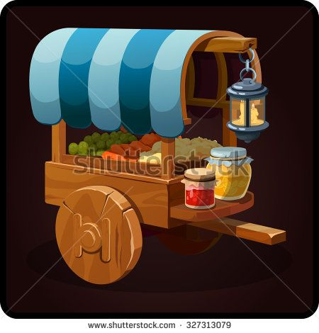 medieval movie shop with goods icon. Vector design for app user interface