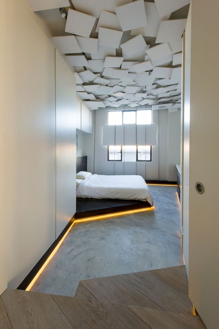 Modern bedroom with cool ceiling
