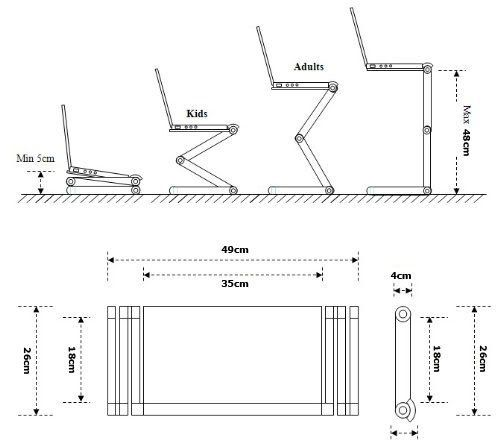 GBL® Support Ordinateur Portable Table de Lit Pliable pour Ordinateur Portable avec plateau de USB Ventilation Refroidissement (Silver) (Silver)