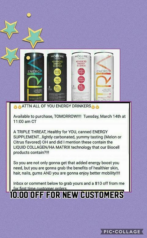 ENERGY DRINKS Whether you need an extra boost to get you through a power workout, added fuel to focus at work for your 3pm meeting or just want to keep joints mobile and skin glowing, Tria™️ can help.  10% off discount code 451947