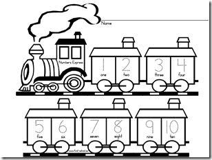Tracing and cutting train I LOVE Preschool