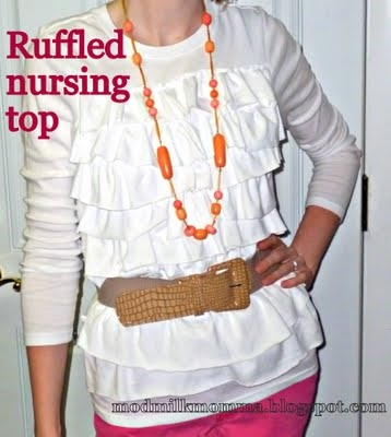 no description: Nursing Tops, Style, Nursing T Shirts, Nursing Shirts, Nur Tops, Sewing Ideas, Ruffles Nursing, Breastfeeding, Tops Diy
