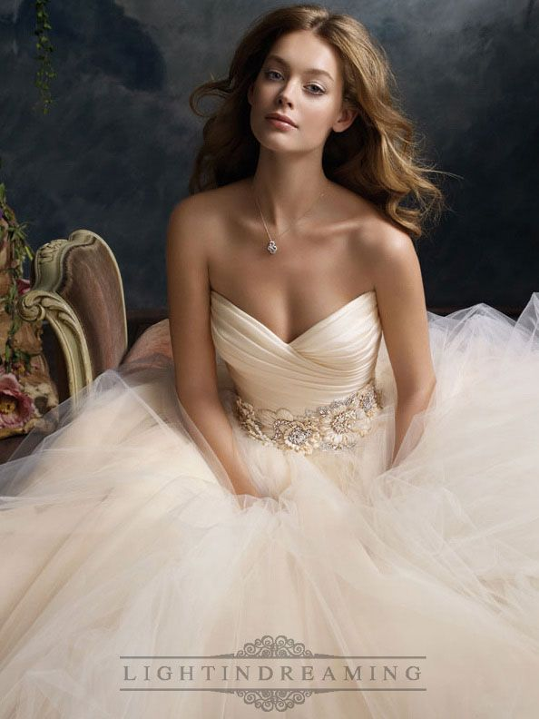 Blush Romantic Tull Sweetheart Bridal Ball Gown with Floral Jewel Band