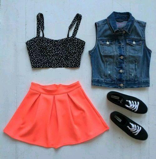 Cute Hot Orange Outfit Teen 81