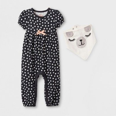 47858af03 Baby Girls  2pc Short Sleeve Dot Romper with Puppy Bib - Cat