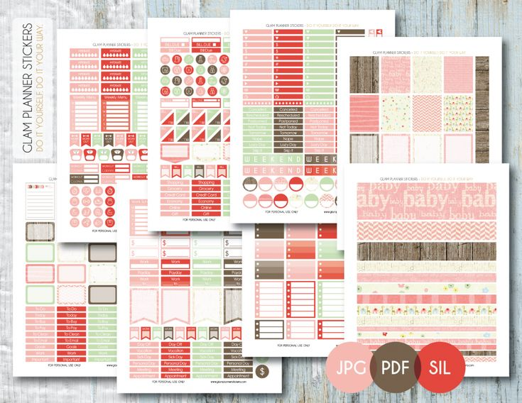 Free Printable Baby Monthly Planner Sticker Kit {PDF, JPG and Silhouette Files} from Planner Addiction