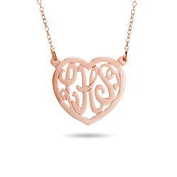 Rose Gold Vermeil Custom Monogram Heart Necklace from EvesAddiction.com