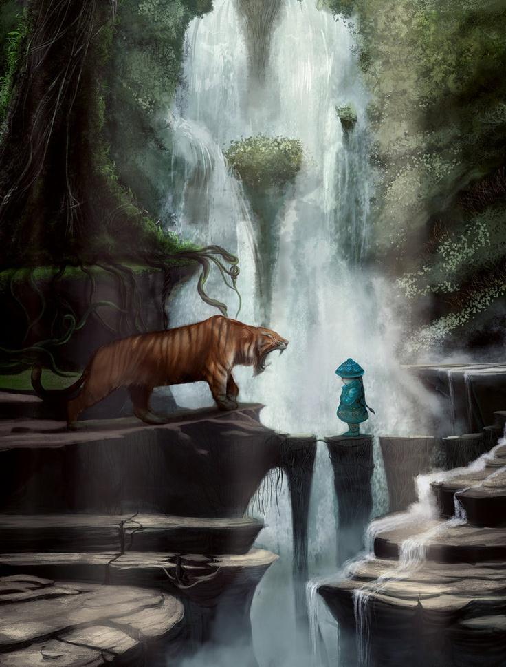Little Blue and King Tiger by ~TianXia: Arijanit Roci, Art Inspiration, Fantasy Art, Artists Pleasures, Digital Art, Art Drawings, Favourit Artists, Beautiful Artworks, Art Digital