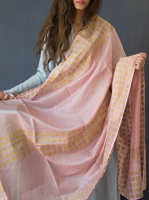 Light Pink Chanderi Block Printed Dupatta