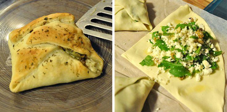 Folhados de rúcula e queijo feta