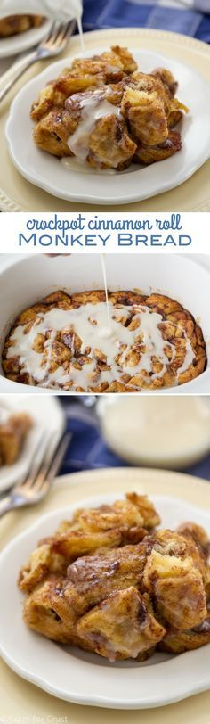 Slow Cooker Cinnamon Roll Monkey Bread is easy to make and cooks in a crockpot!...I need to try this