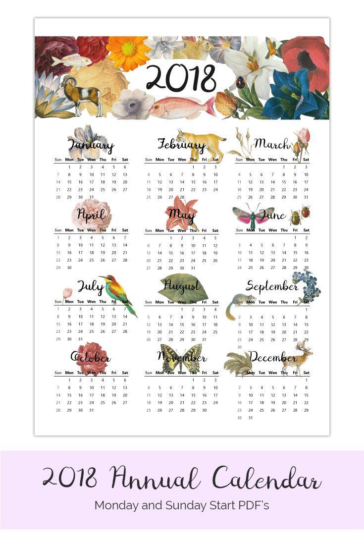 Annual Calendar Yearly At A Glance Calendar 2018 Printable