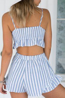 Striped Cami Crop Top and Wide Leg Shorts Suit