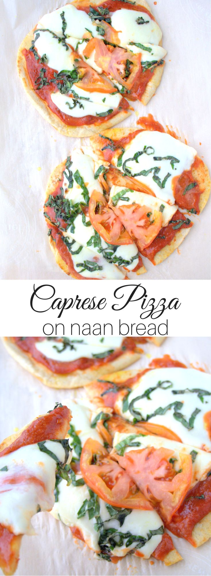 This is the yummiest, easiest pizza I've ever made! | The Refreshanista | Caprese Pizza on Naan Bread | Vegetarian Pizza Recipe | Potluck on OhMyVeggies.com
