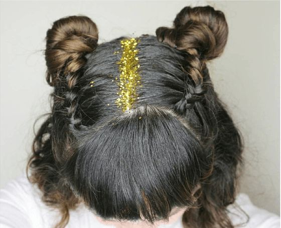 90s hairbuns with gold glitter!
