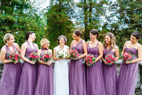 Purple bridesmaid dress idea - tulle amethyst bridesmaid dresses in various necklines {Bartlett Pair Photography}