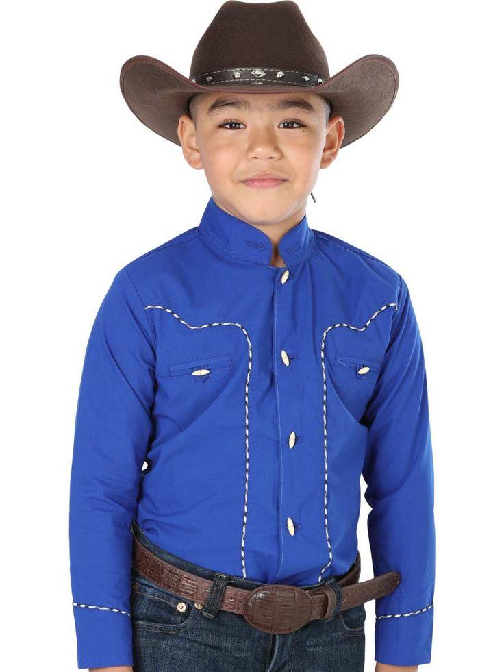40355 Camisa Charra Niño El General, 65% Polyester,35% Algodon - Azul Cobalto