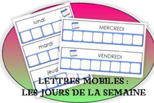 Les lettres mobiles : Les jours de la semaine