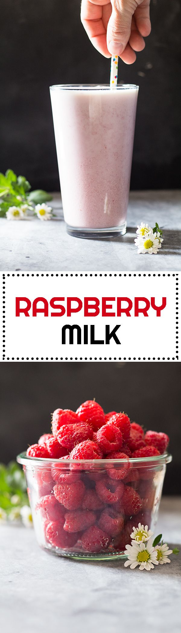 Hot chocolate milk doesn't fit summer, does it? A quick and easy refreshing Raspberry Milk does though. Great snack for children and adults!