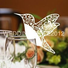 100 Laser Cut Humming Bird Glass Place Cards in White