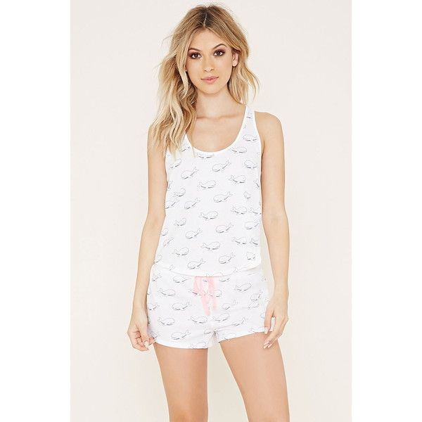 Forever 21 Women's  Whale Print PJ Set ($15) ❤ liked on Polyvore featuring intimates, sleepwear, pajamas, forever 21 pjs, forever 21 sleepwear, forever 21, racerback cami and forever 21 pajamas