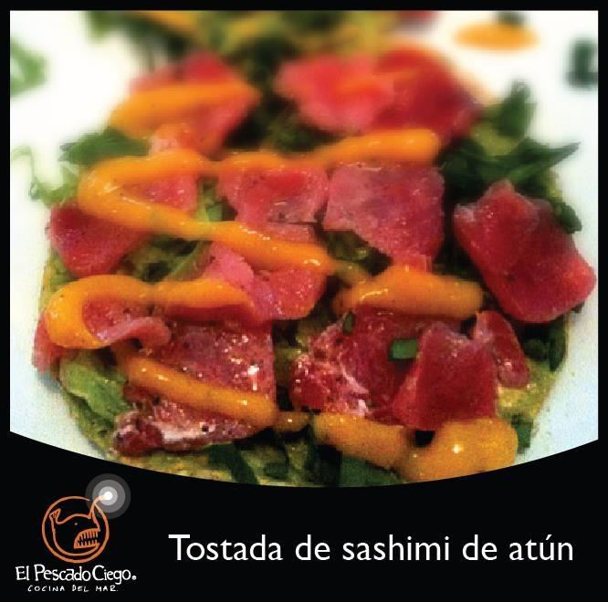 Tostada de sashimi de atún @ El Pescado Ciego