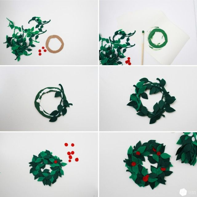 how to make a felt christmas wreath and mistletoe step by step tutorial free felt toy. Black Bedroom Furniture Sets. Home Design Ideas