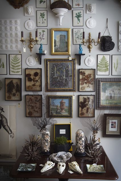 wall of art in shop