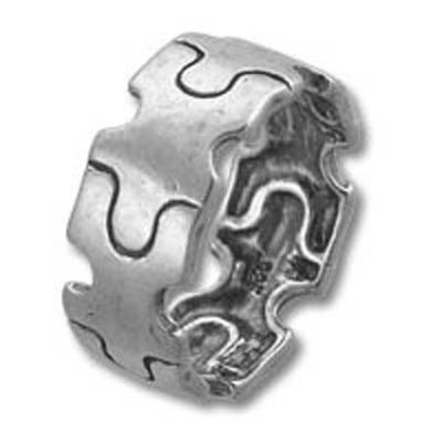 Autism Awareness Puzzle Piece Band Sterling Silver Ring Size 7