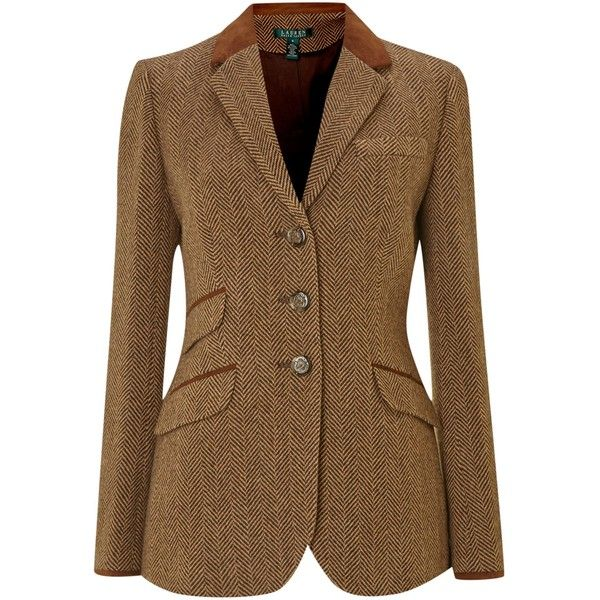 Lauren by Ralph Lauren Tweed hacking jacket with suede tipped collar (€300) ❤ liked on Polyvore featuring outerwear, jackets, blazers, camel, coats & jackets, women, tweed jacket, long sleeve blazer, checkered blazer and brown tweed blazer